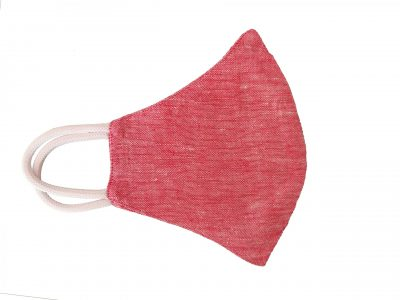Hemp face mask in coral red color